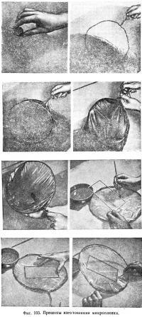 Фиг. 103. Процессы изготовления микропленки