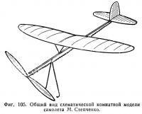 Фиг. 105. Общий вид схематической комнатной модели самолета М. Степченко