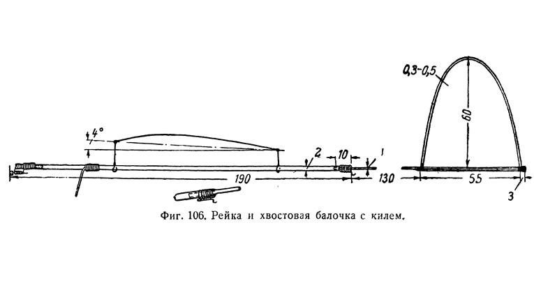 Фиг. 106. Рейка и хвостовая балочка с килем