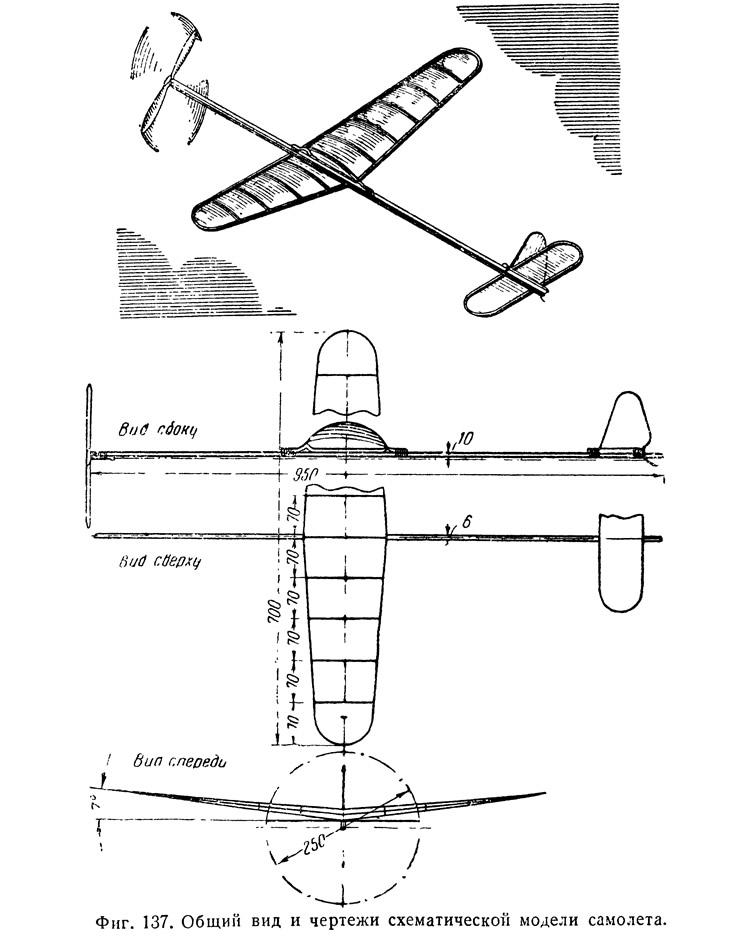 Фиг. 137. Общий вид и чертежи схематической модели самолета