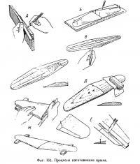 Фиг. 161. Процессы изготовления крыла