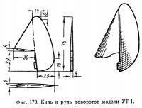 Фиг. 170. Киль и руль поворотов модели УТ-1