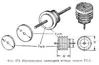 Фиг. 174. Изготовление цилиндров мотора модети УТ-1