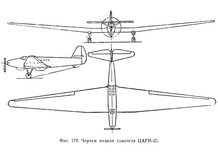Фиг. 179. Чертеж модели самолета ЦАГИ-25