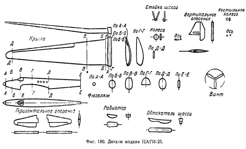 Фиг. 180. Детали модели самолета ЦАГИ-25