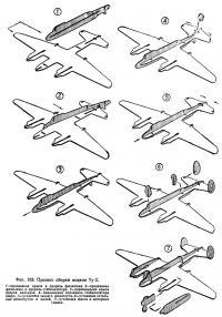 Фиг. 193. Процесс сборки модели Ту-2