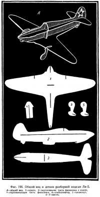 Фиг. 196. Общий вид и детали разборной модели Ла-5