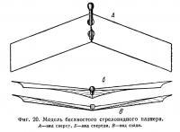 Фиг. 20. Модель бесхвостого стреловидного планера