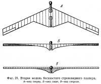 Фиг. 21. Вторая модель бесхвостого стреловидного планера