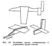 Фиг. 24. Отгибание крыла, стабилизатора и укрепление груза