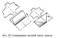 Фиг. 29. Складывание носовой части модели