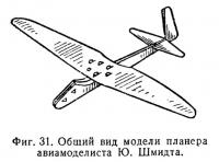 Фиг. 31. Общий вид модели планера авиамоделиста Ю. Шмидта