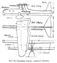 Фиг. 42. Бумажная модель самолета биплана