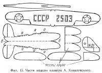 Фиг. 45. Части модели планера А. Ковалевского