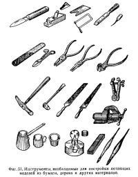 Фиг. 51. Инструменты для постройки летающих моделей