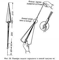 Фиг. 58. Размеры модели парашюта и способ запуска ее