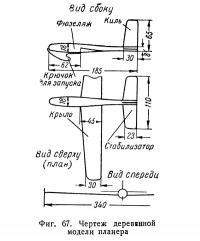 Фиг. 67. Чертеж деревянной модели планера