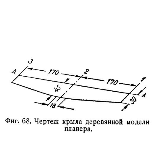 Фиг. 68. Чертеж крыла деревянной модели планера