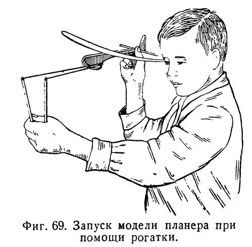 Фиг. 69. Запуск модели планера при помощи рогатки