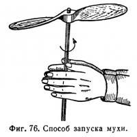 Фиг. 76. Способ запуска мухи