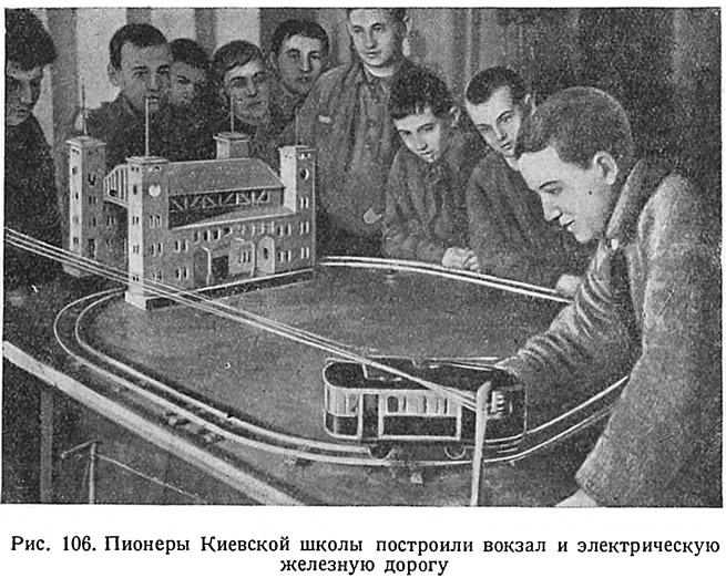 Рис. 106. Пионеры Киевской школы построили вокзал и железную дорогу
