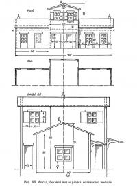 Рис. 107. Фасад, боковой вид и разрез маленького вокзала
