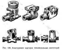 Рис. 108. Конструкции картеров авиамодельных двигателей