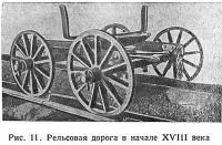 Рис. 11. Рельсовая дорога в начале XVIII века