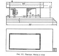 Рис. 111. Пакгауз. Фасад и план