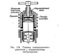 Рис. 114. Головка компрессионного двигателя с подрессоренным контрпоршнем