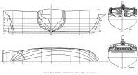 Рис. 129. Бриг «Меркурий». Схематический чертеж, вид с носа и с кормы