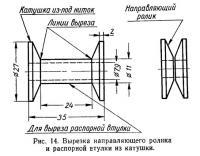 Рис. 14. Вырезка направляющего ролика и распорной втулки из катушки