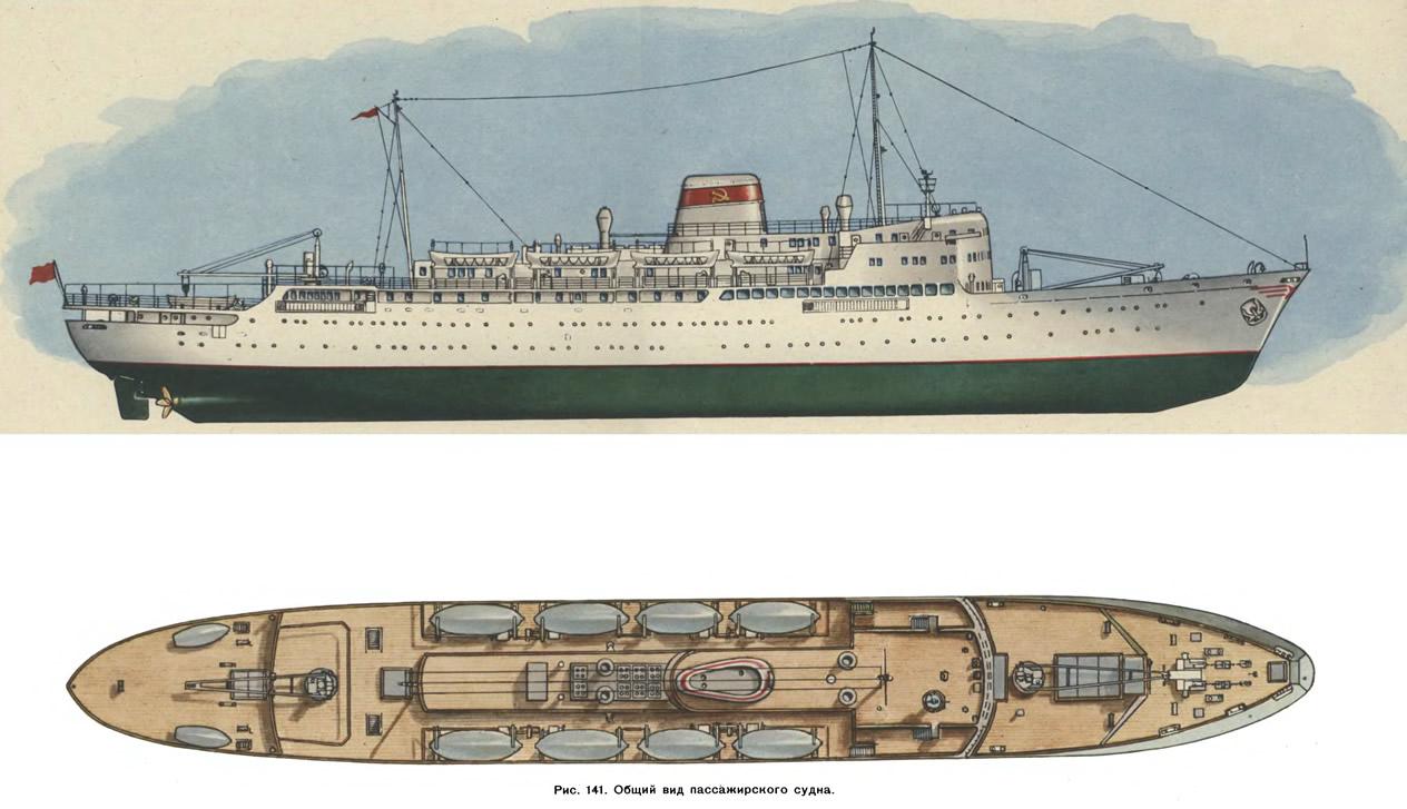 Рис. 141. Общий вид пассажирского судна