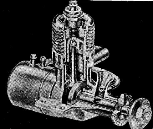 Рис. 143. Перспективный разрез двигателя с распределительным валом