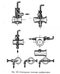 Рис. 152. Конструкции типичных карбюраторов
