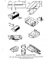 Рис. 164. Конструкции четырехгранного и пятигранных бачков