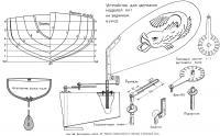 Рис. 169. Яхта-модель класса «П». Корпус теоретического чертежа и ветровой руль