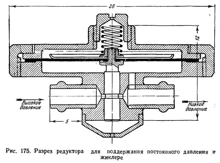 Рис. 175. Разрез редуктора для поддержания постоянного давления в жиклере