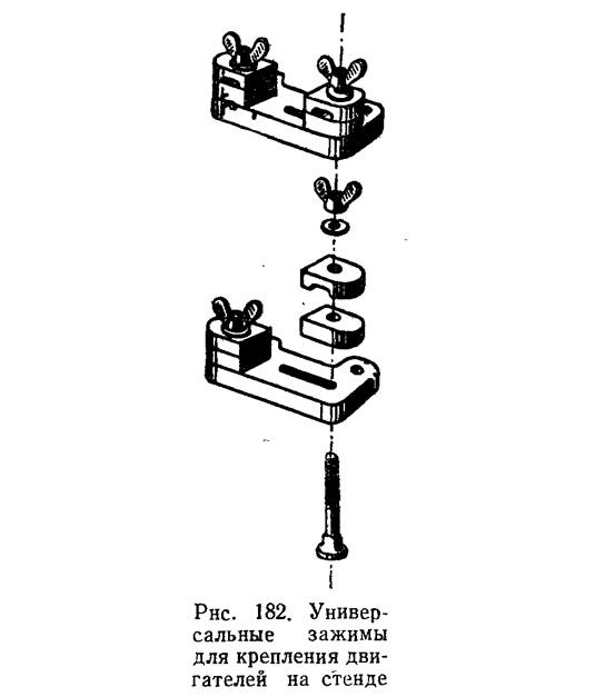 Рис. 182. Универсальные зажимы для крепления двигателей на стенде
