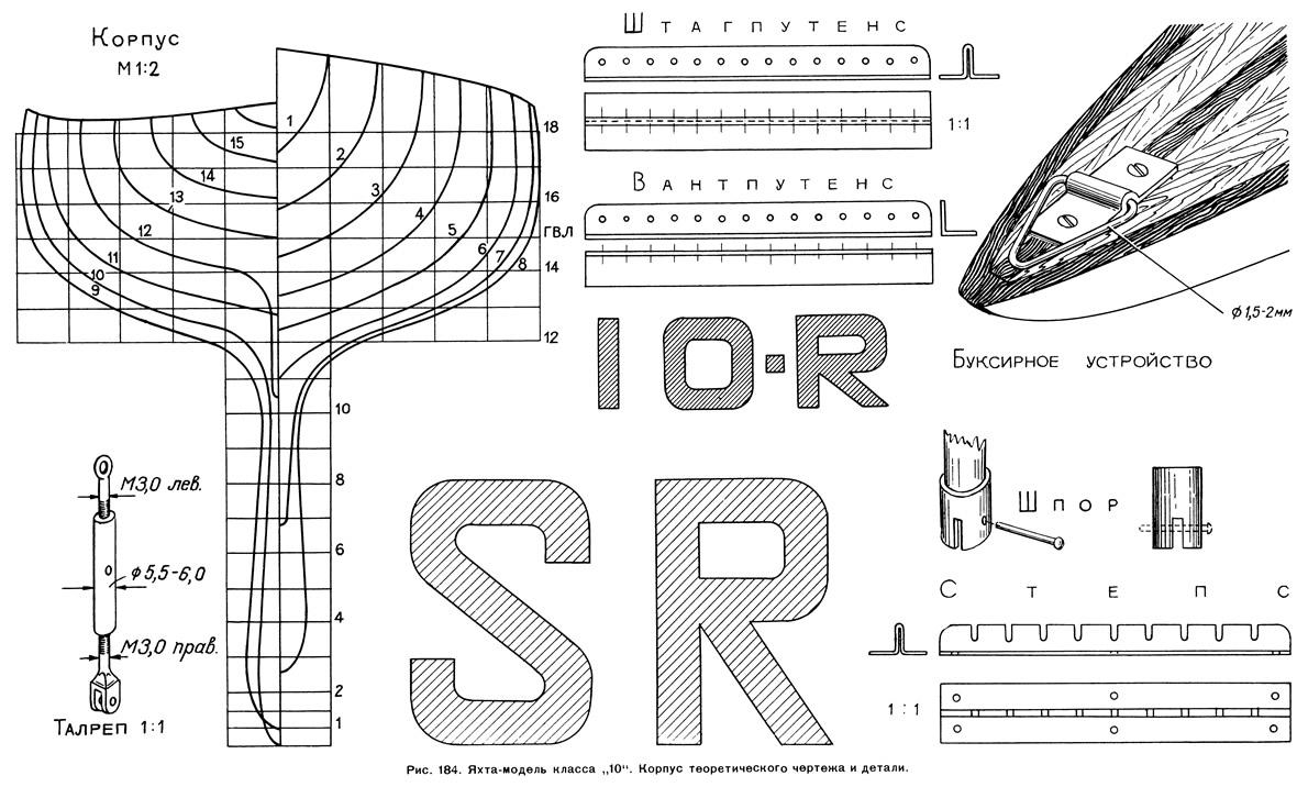 Рис. 184. Яхта-модель класса «10». Корпус теоретического чертежа и детали