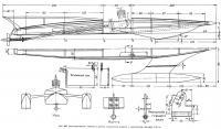 Рис. 186. Конструктивный чертеж и детали модели с двигателем 2,5 см3