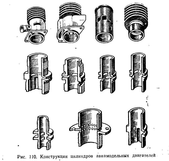 Рис. 210. Конструкции цилиндров авиамодельных двигателей