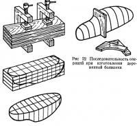 Рис. 22. Последовательность операций при изготовлении деревянной болванки