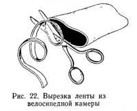 Рис. 22. Вырезка ленты из велосипедной камеры