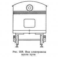 Рис. 228. Вид электровоза вдоль пути