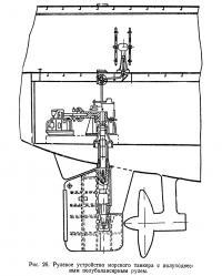 Рис. 26. Рулевое устройство морского танкера с полуподвесным полубалансирным рулем