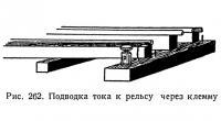 Рис. 262. Подводка тока к рельсу через клемму