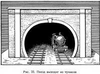 Рис. 33. Поезд выходит из туннеля