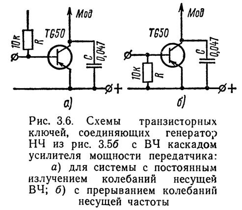 Рис. 3.6. Схемы транзисторных ключей, соединяющих генератор НЧ