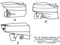 Рис. 37. Формы кормовых образований моделей судов